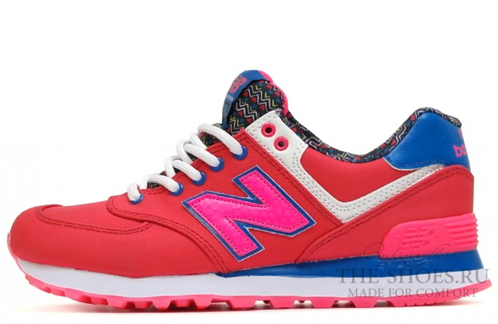 New Balance 574 Red Blue Print White красные