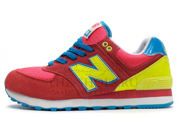 New Balance 574 Red Lime Blue красные