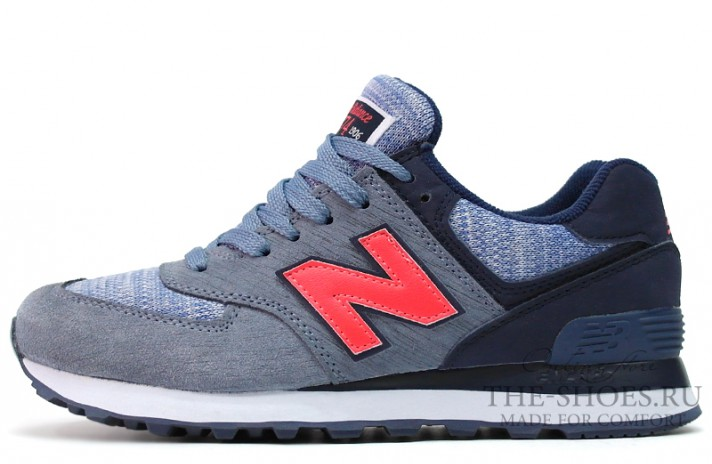 New Balance 574 Sharp Grey Blue Red серые