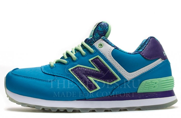Кроссовки New Balance 574 Blue Lilac Green Print