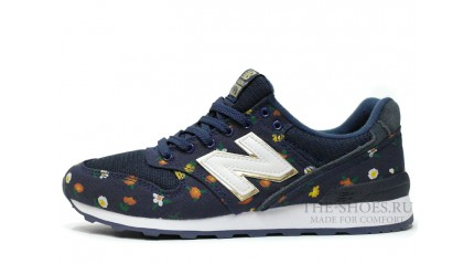 996 КРОССОВКИ ЖЕНСКИЕ<br/> NEW BALANCE 996 DARK BLUE FLOWER WHITE