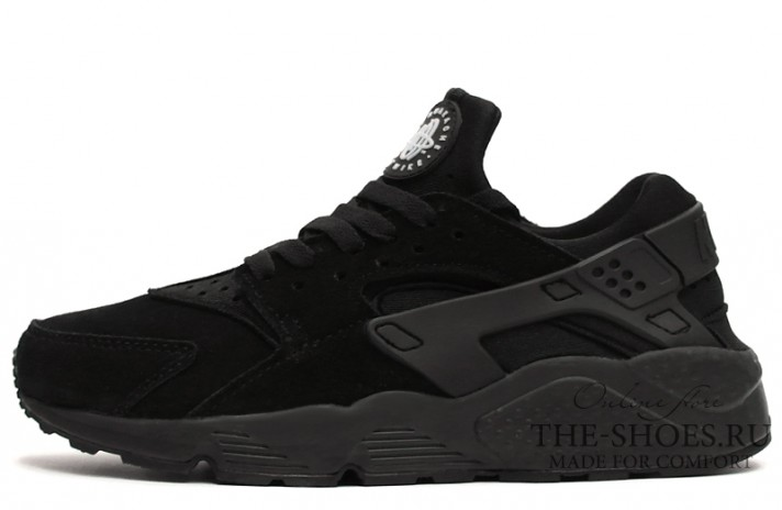 Nike Air Huarache Black Suede Full черные замшевые