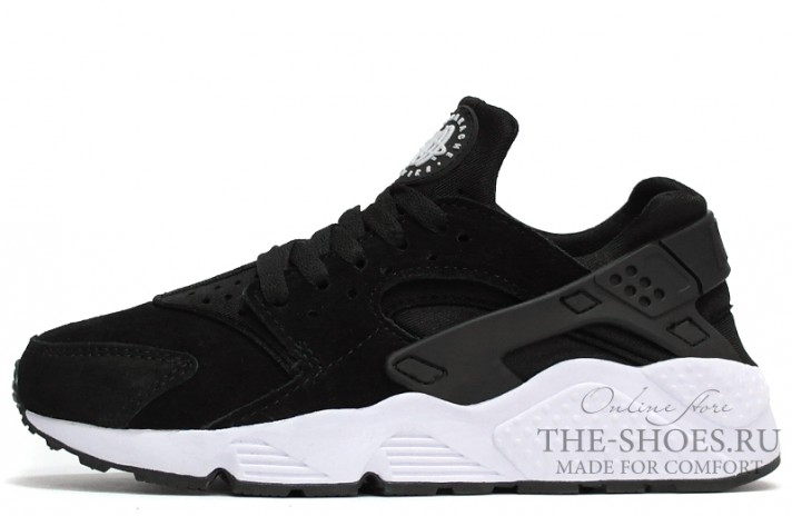 Nike Air Huarache Black Suede White черные замшевые