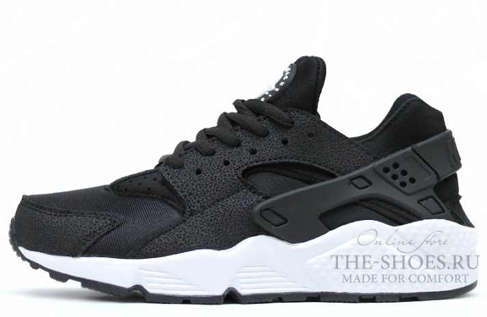 Nike Air Huarache Cloth Safari Black White черные