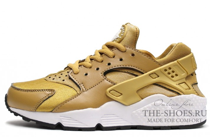 Nike Air Huarache Bronzine Gold White желтые золотые