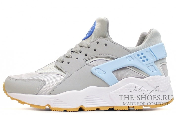 Nike Air Huarache Gray White Baby Blue серые