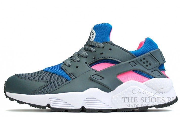 Nike Air Huarache Wet Grey Blue Pink White серые разноцветные