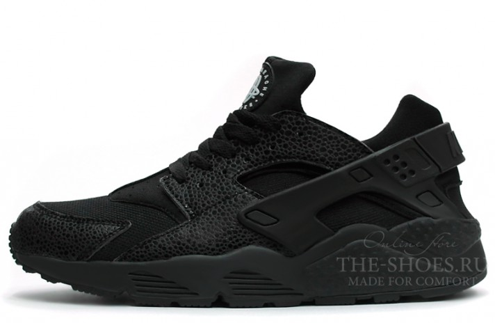 Nike Air Huarache Cloth Safari Full Black черные
