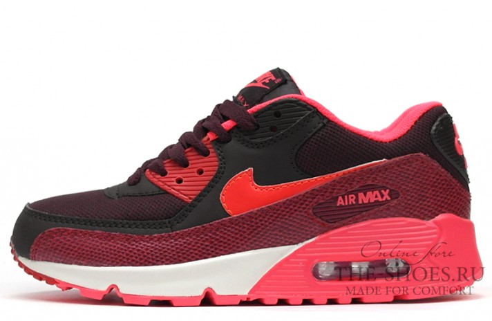 Nike Air Max 90 Essential Red Burgundy Snake красные бордовые, фото 1
