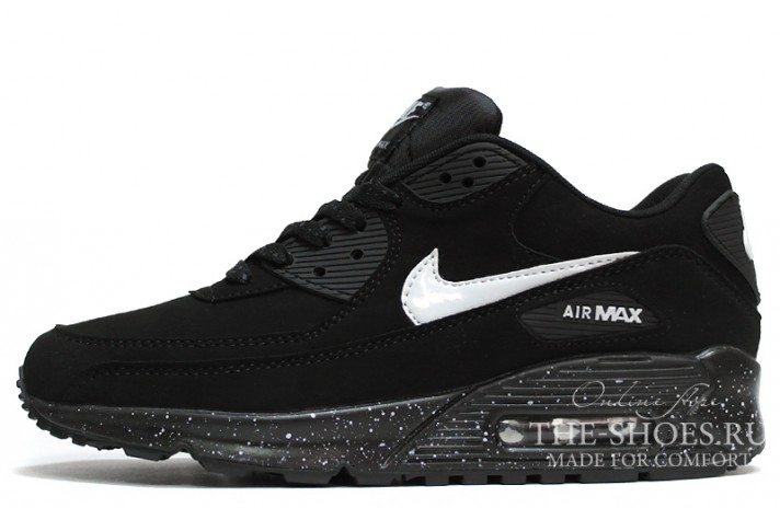 Nike Air Max 90 Suede Black White Oreo черные замшевые