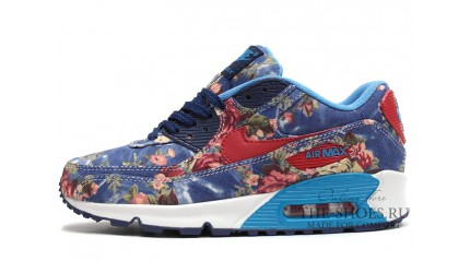 Air Max 90 КРОССОВКИ ЖЕНСКИЕ<br/> NIKE AIR MAX 90 FLOWER PRINT BLUE WHITE