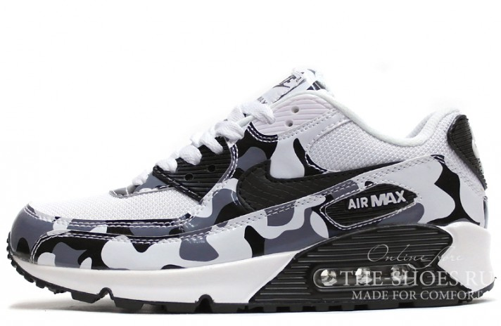 Nike Air Max 90 Essential White Black Camo белые камуфляжные
