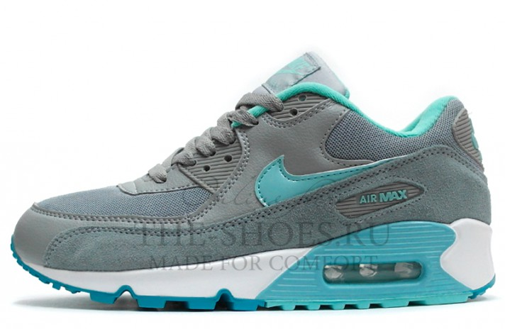 Nike Air Max 90 Essential Grey Turquoise серые, фото 1