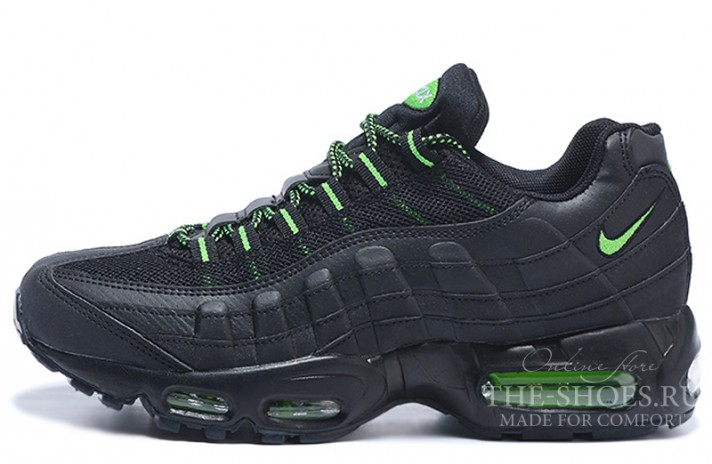 Nike Air Max 95 Black Leather Venom Green черные кожаные