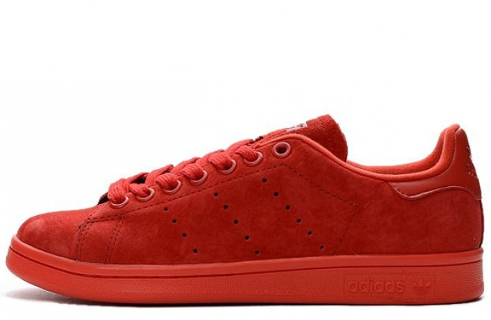 Adidas Stan Smith Red Poppy Mono Suede Pack красные замшевые