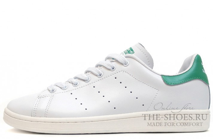 Кроссовки Adidas Stan Smith White Green Leather