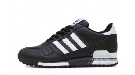 Adidas ZX 700 Black Leather White черные кожаные