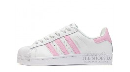 Adidas SuperStar White Pink белые кожаные