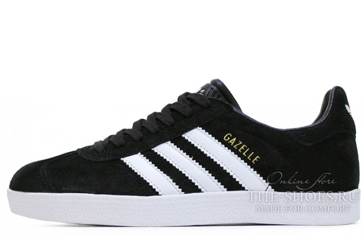 Adidas Gazelle Black White черные, фото 1