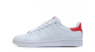Кроссовки женские Adidas Stan Smith White Red Leather