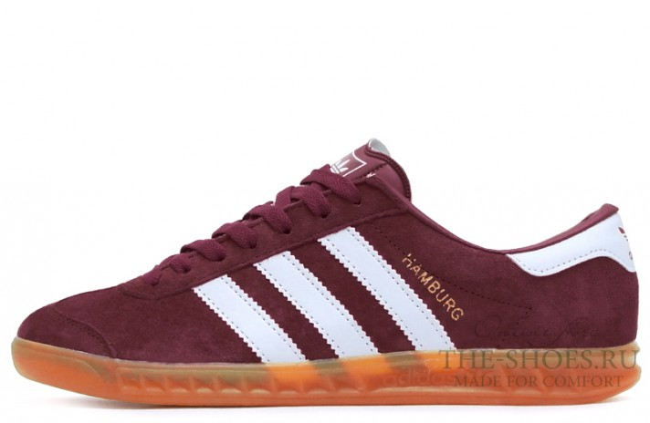 Adidas Hamburg Red White Glassy бордовые