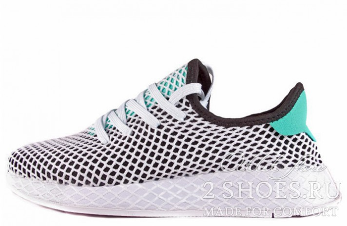 ADIDAS Deerupt Runner Black Easy Green White белые