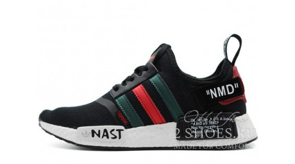 NMD КРОССОВКИ МУЖСКИЕ<br/> ADIDAS NMD R1 OFF WHITE BLACK GREEN RED