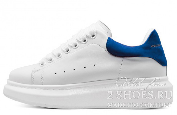 Alexander McQueen White Dark Blue белые кожаные