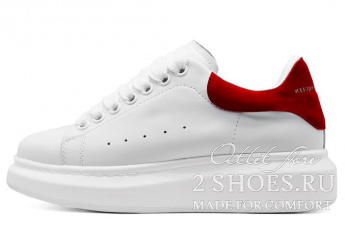 Alexander McQueen White Red белые кожаные