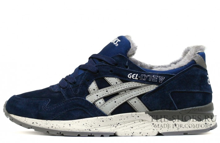 Asics Gel LYTE 5 Winter Navy Speckle Gray темно-синие, фото 1