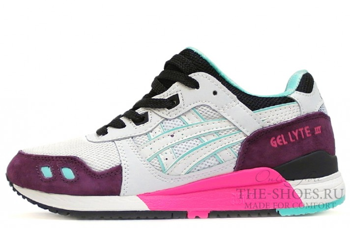 Asics Gel Lyte 3 Burgundy White Black Mint белые разноцветные