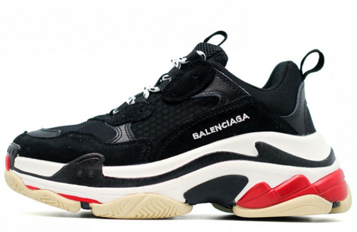 Balenciaga Triple S Black White черные