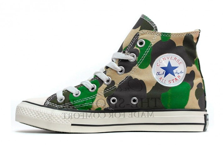 Converse All Star Hi CHUCK TAYLOR Green Camo White зеленые камуфляжные