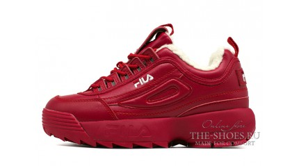 Fila Disruptor 2 Winter Fury Red зимние с мехом