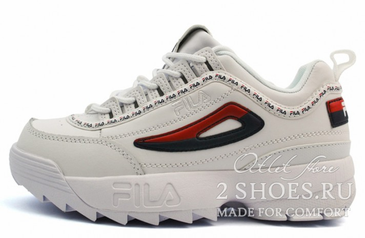 Fila Disruptor 2 White Blue Red белые кожаные