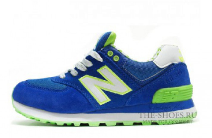 New Balance 574 Acid Lime Blue White Print синие
