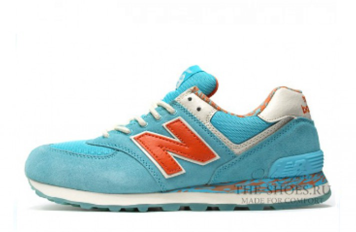 New Balance 574 Baby Blue Orange Print White голубые