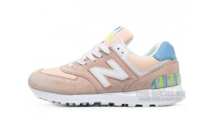 New Balance 574 Peach Light White