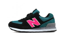 New Balance 574 Black Blue Pink черные