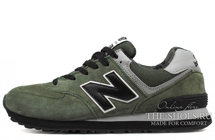 New Balance 574 Vintage Green Black зеленые