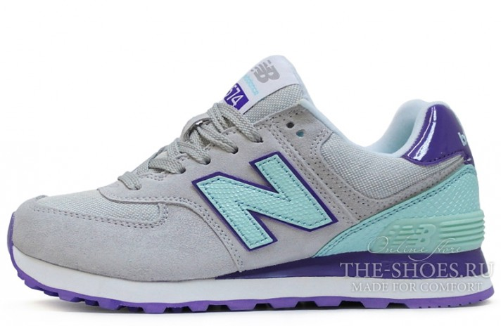 New Balance 574 Grey Mint Violet White серые, фото 1