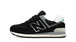 New Balance 574 Black White Gray черные
