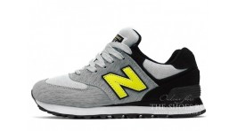 New Balance 574 Sharp Gray Lime Black серые