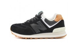 New Balance 574 Black White Toffee черные
