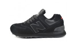 New Balance 574 All Black Suede черные