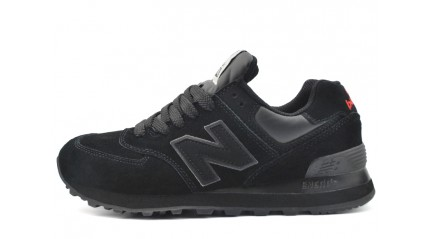 New Balance 574 All Black Suede