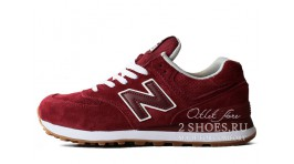 New Balance 574 Red Maroon бордовые