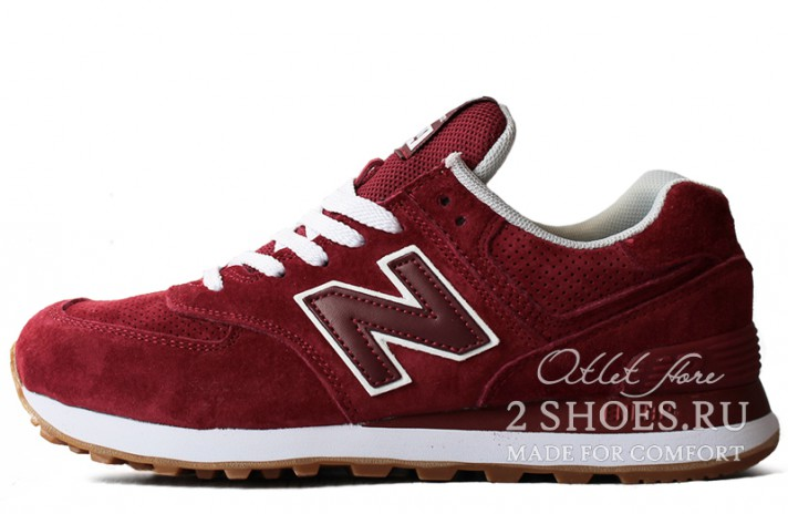 New Balance 574 Red Maroon бордовые, фото 1