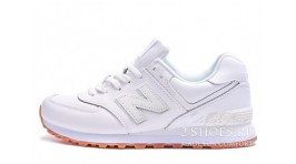 New Balance NB574BAA white gum leather белые кожаные