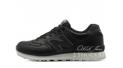 New Balance 574 Black Leather Perforate